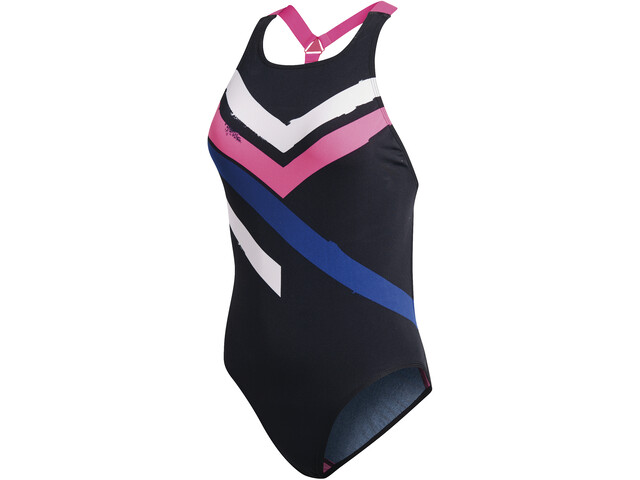 adidas Placed Print Swimsuit Damen black/white/shock pink